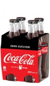 Coca Cola Zero Vetro 0,20 l -Confezione 4 pz Coca Cola