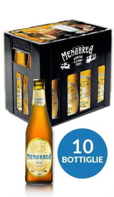 Cassetta Menabrea: 10 bottiglie non filtrata + 2 bicchieri e sottobicchieri Menabrea